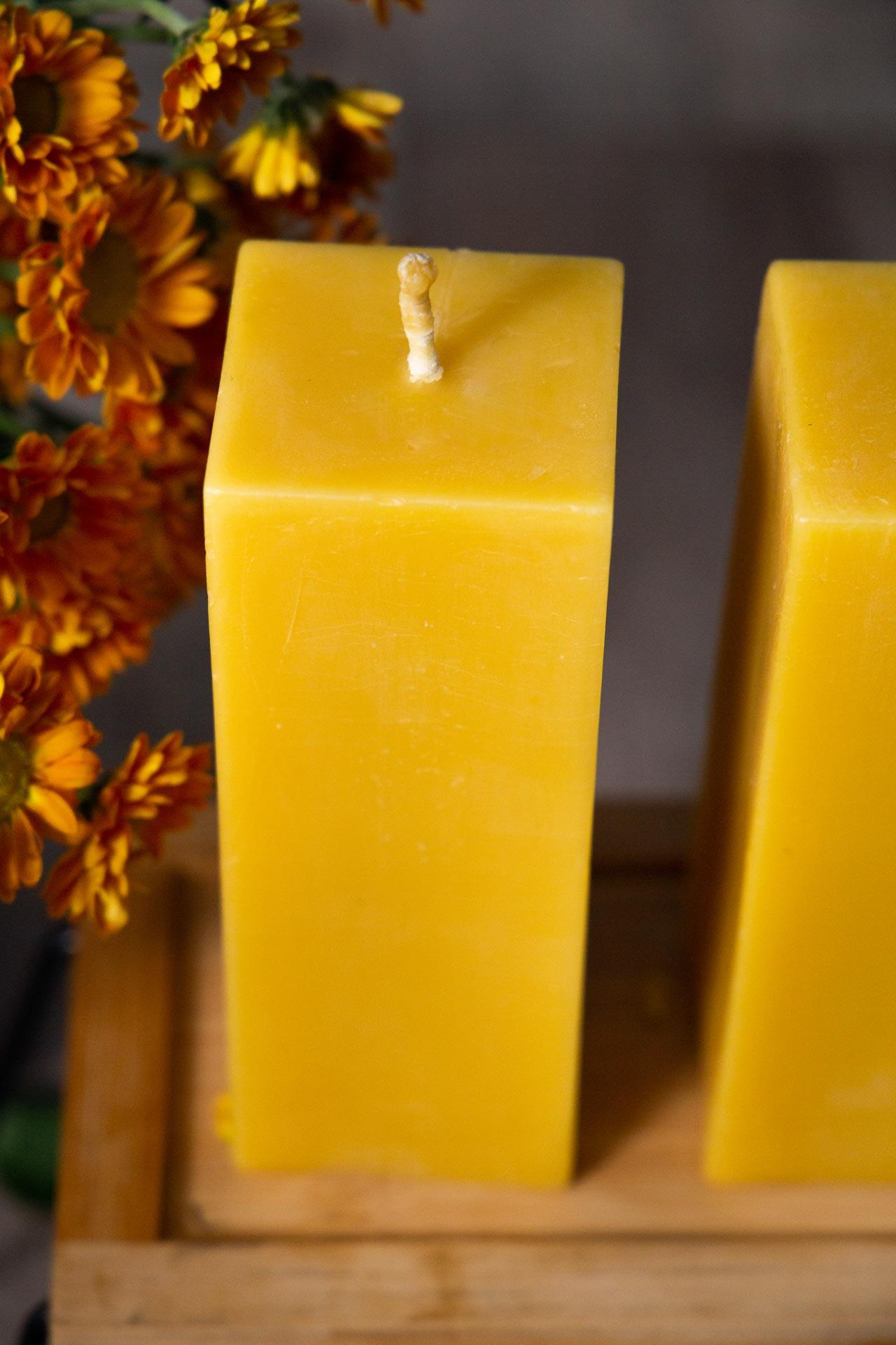 4x 4-eckig  (ca. 15cm x 5,5cm) aus 100% Bienenwachs vom Imker