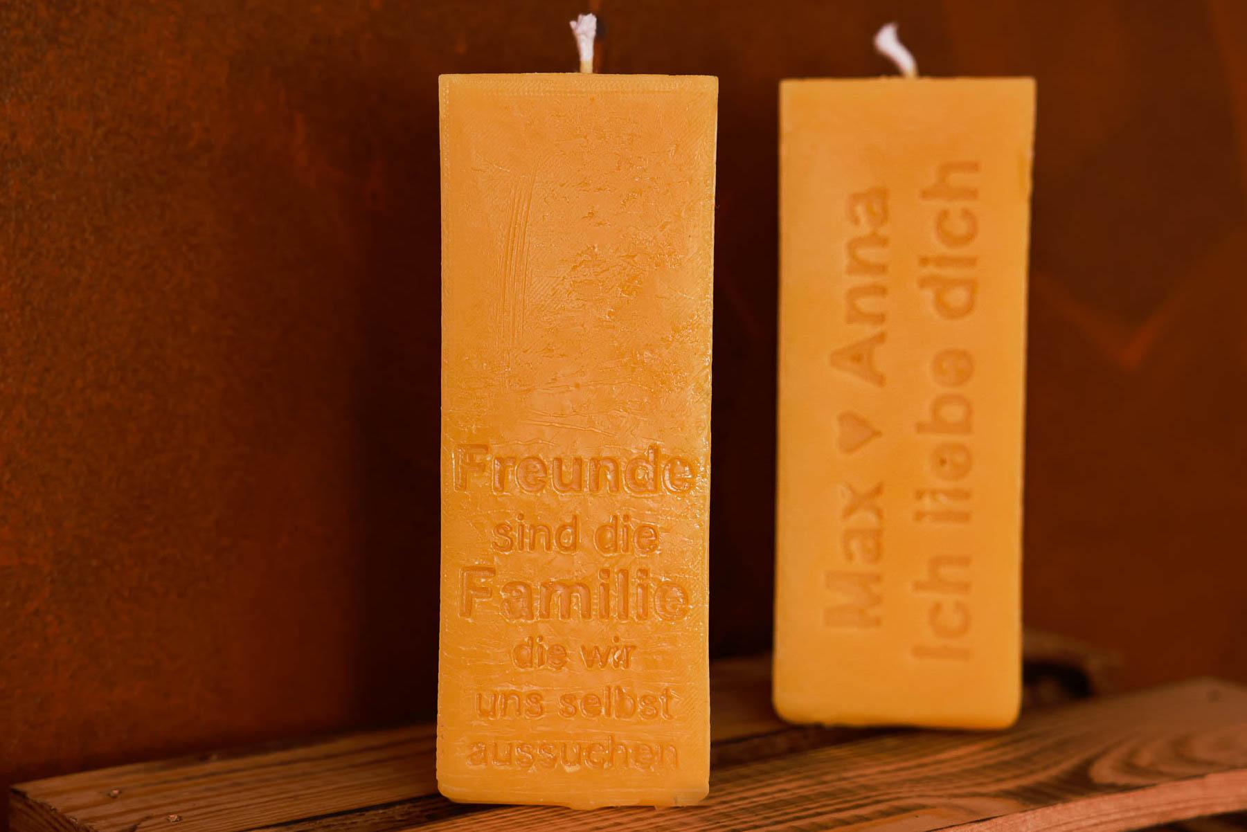 Freunde sind Familie Kerze (ca. 15cm x 5,5cm) aus 100% Bienenwachs vom Imker
