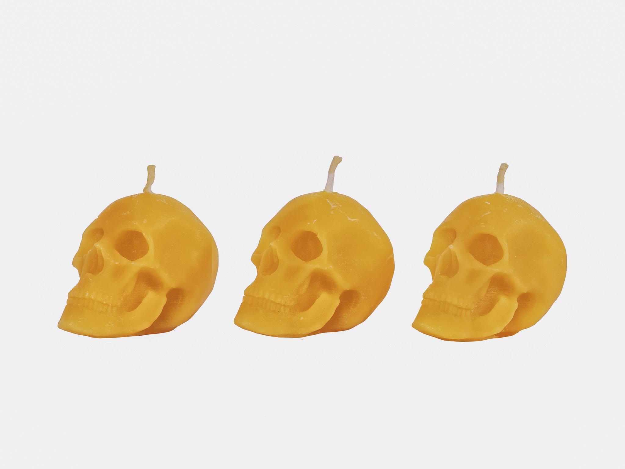 3x Totenkopf (Höhe ca. 6cm) aus 100% Bienenwachs vom Imker