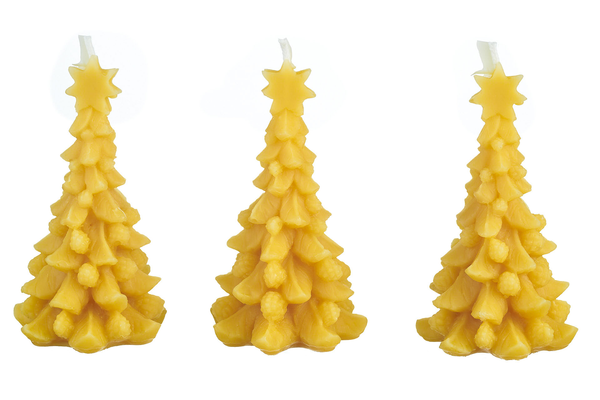 3x Tannenbaum mit Stern (Höhe ca. 11cm) aus 100% Bienenwachs vom Imker