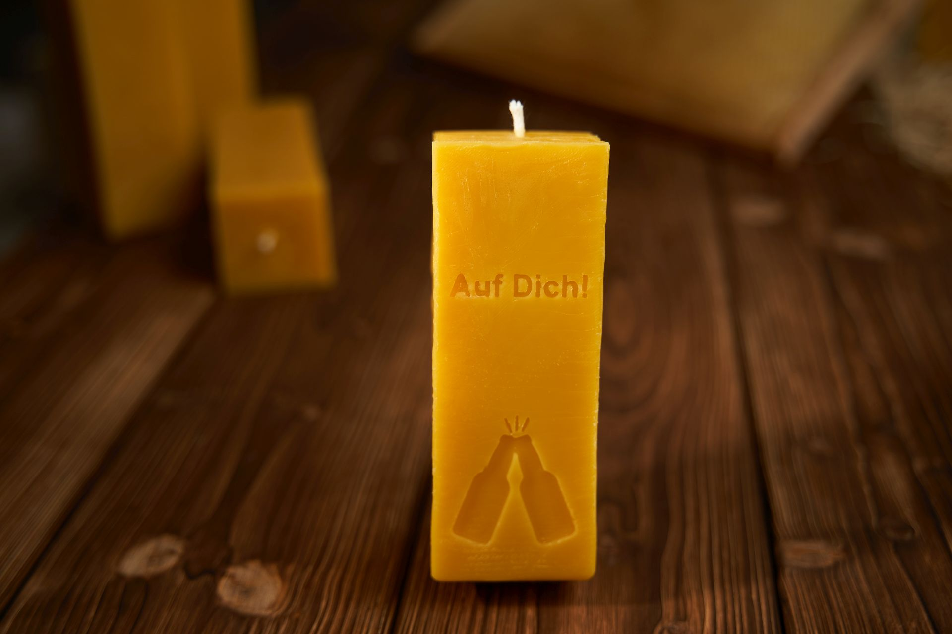 Auf Dich! Kerze (ca. 15cm x 5,5cm) aus 100% Bienenwachs vom Imker