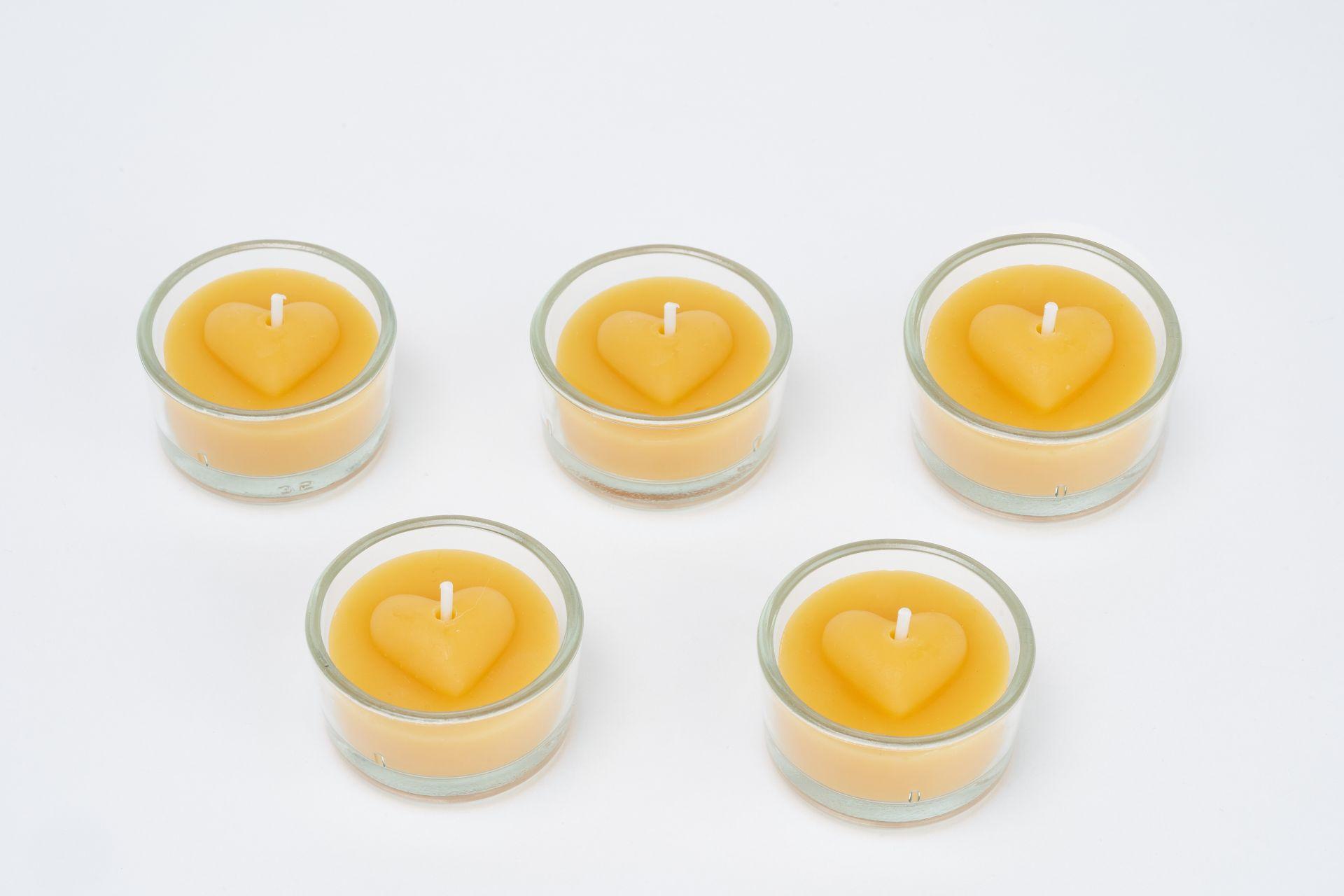Teelichtset Herz gewölbt 5 Stk inkl. 5 Glasbehälter
