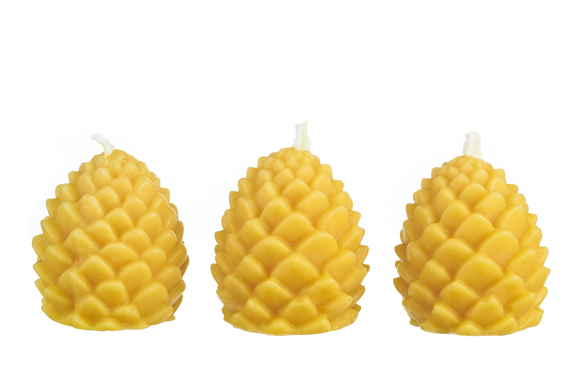 3x Zapfen dick (Höhe ca. 7cm) aus 100% Bienenwachs vom Imker